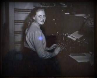My lovely Grandma, Pearl, sitting at her typewriter :)