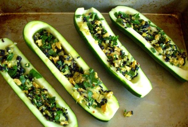 zucchini, stuffed zucchini, recipe, organic, garden