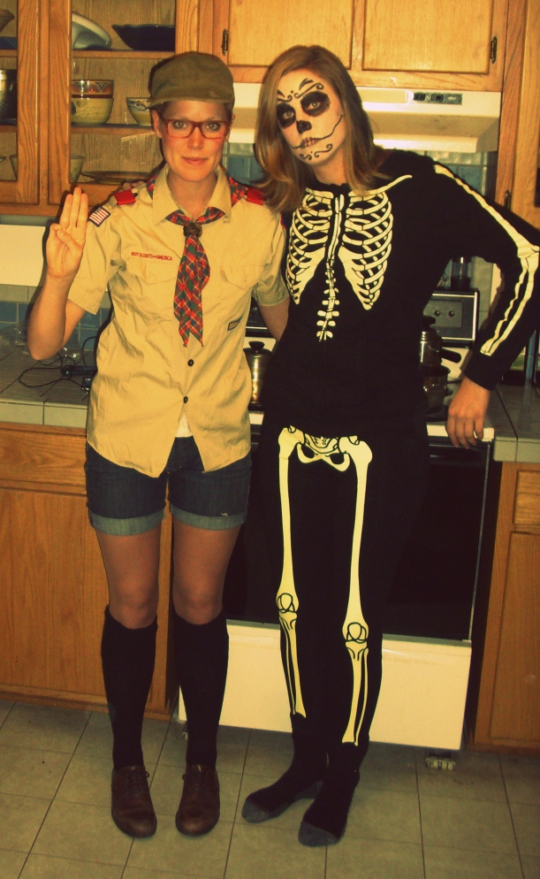 Boy Scout and Skeleton