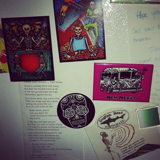 my fridge, featuring: skeletons doing yoga, a skeleton bus, a skull, a beer label, etc.